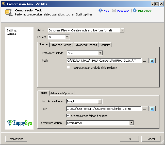 SSIS Zip File Task - Zip, Gzip, Unzip, Compress multiple files and folders