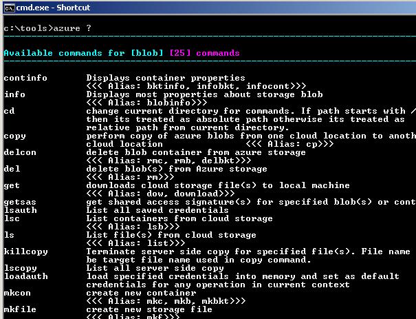 List available Azure Storage Commands
