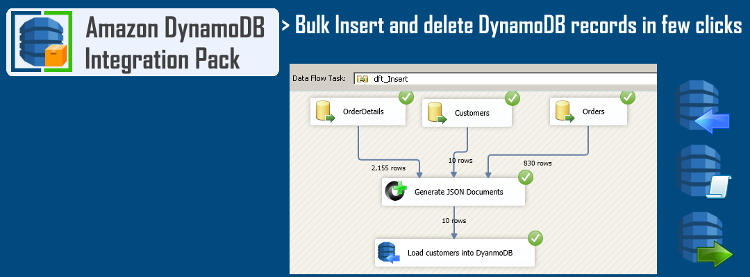 SSIS DynamoDB Destination - Bulk data load into DynamoDB from any source (Bulk insert JSON documents)