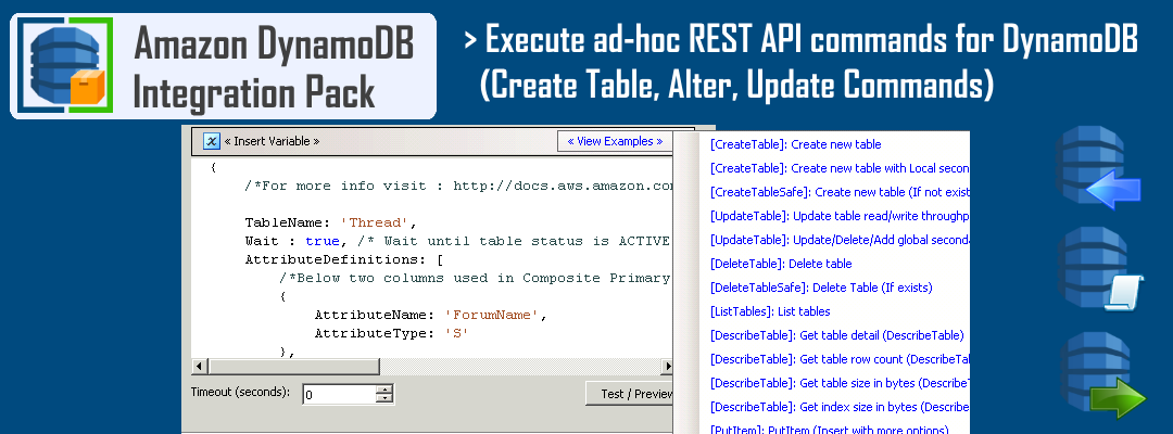 SSIS Amazon DynamoDB ExecuteSQL Task - Call ad-hoc REST API commands for DynamoDB (CREATE, ALTER, DROP, LIST)