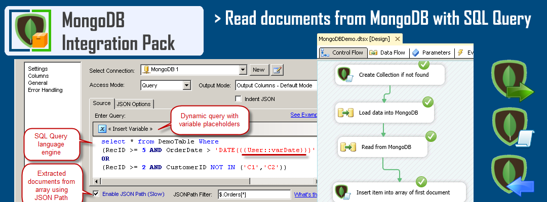 SSIS MongoDB Source - Read MongoDB documents using SQL Query