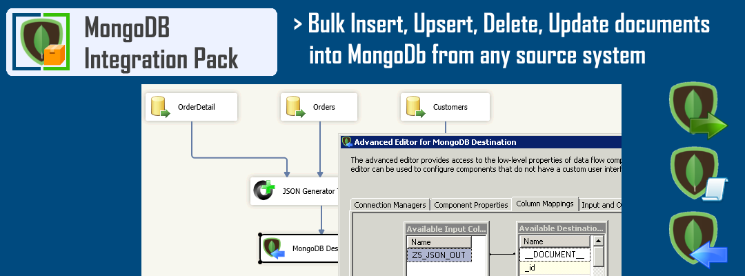 SSIS MongoDB Destination - Bulk Insert, Update, Delete, Upsert documents into MongoDB from any source system