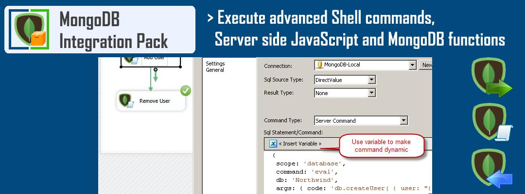 SSIS MongoDB ExecuteSQL Task - Execute advanced shell commands, serverside JavaScript and MongoDB functions