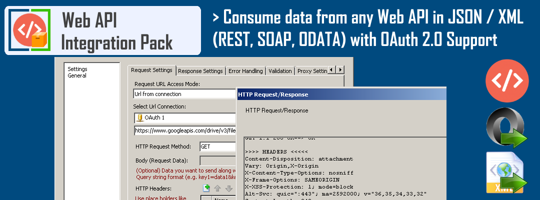 SSIS Rest API Task - Access data from any Web API or Url. Parse HTML, XML, JSON data. Support for OAuth 2.0