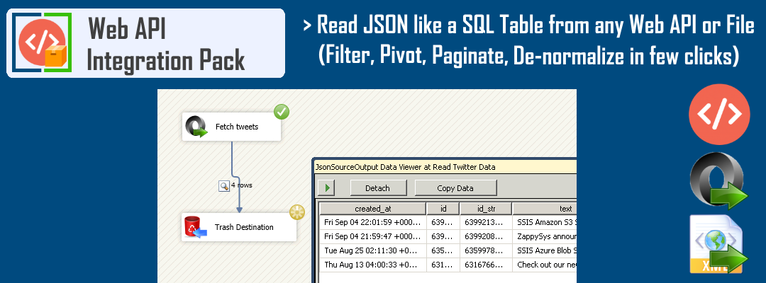 SSIS JSON Source - Read JSON like a SQL Table from any Web API / File. Filter, Pivot, Paginate and De-normalize your data in few clicks.