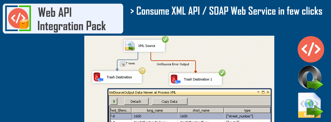 SSIS XML / SOAP Source - Consume data from XML API / SOAP Web Service / XML Files in few clicks