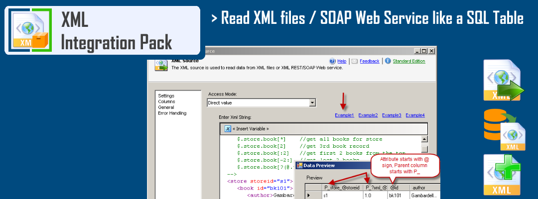 SSIS XML Source - Read XML like a SQL Table from any XML/SOAP API or File. Filter, Pivot, Paginate and De-normalize your data in few clicks.