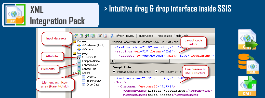 Visual layout editor for XML File Generation in SSIS