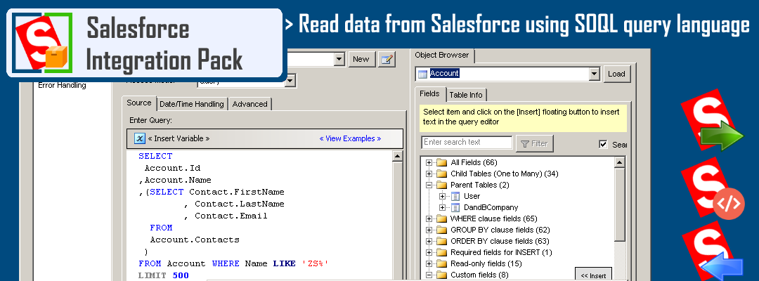 Read data from Salesforce using SOQL Query Language in SSIS