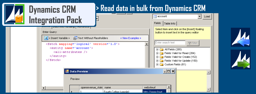 Read data from Microsoft Dynamics CRM using FetchXML Query Language in SSIS