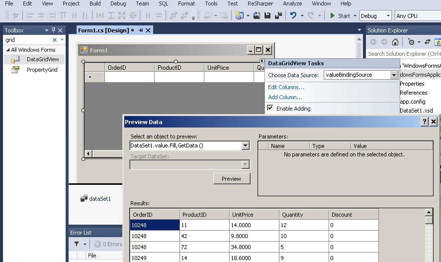 Visual Studio Integration (WinForm, Grid Data binding using ADO.net) - ODBC Driver connection for REST API / XML / JSON / SOAP / OData