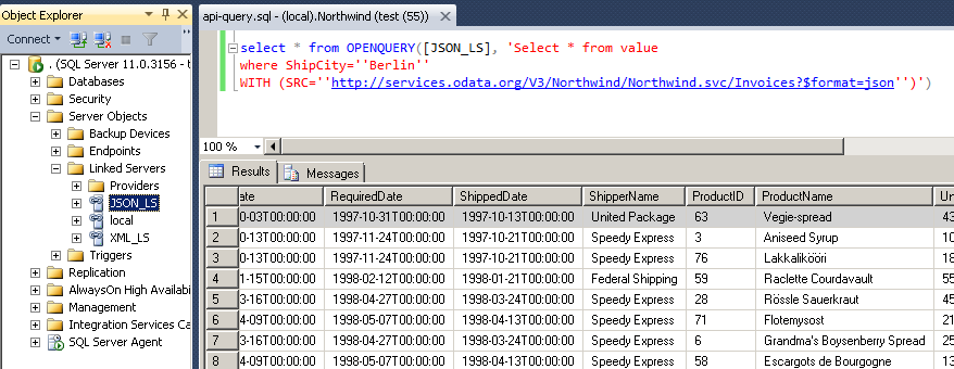 SQL Server Integration Example - Query REST API / JSON Files / XML Files inside SQL Server using ZappySys Data Gateway Service (Use of Linked Server / OPENQUERY Feature in T-SQL Code / SSMS)