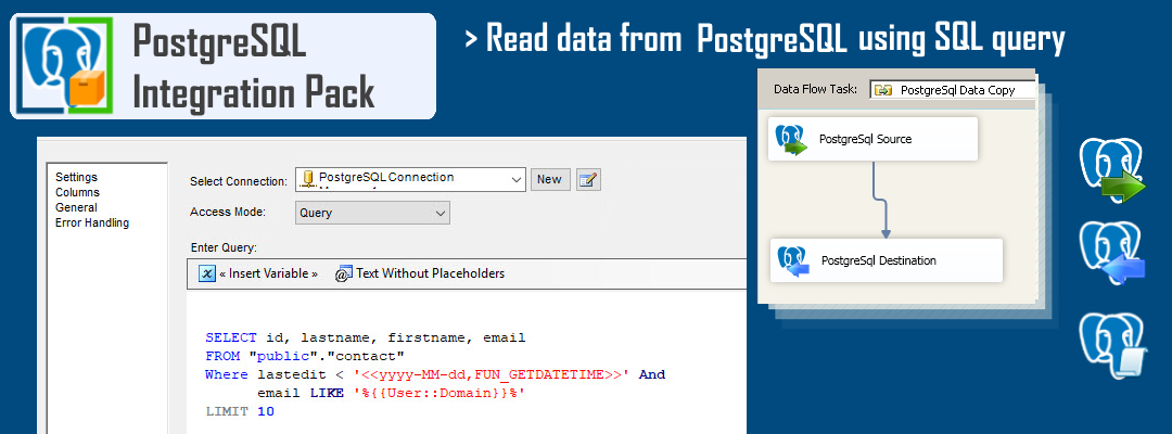 Read data from PostgreSql Table (SQL Query or Table Mode)